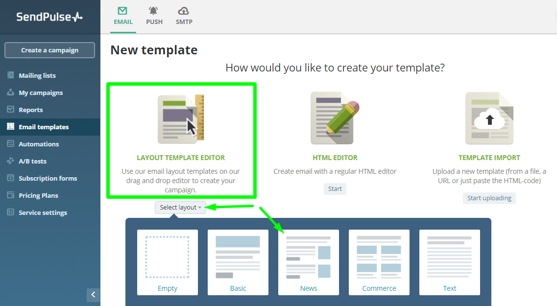 Select the template base structure