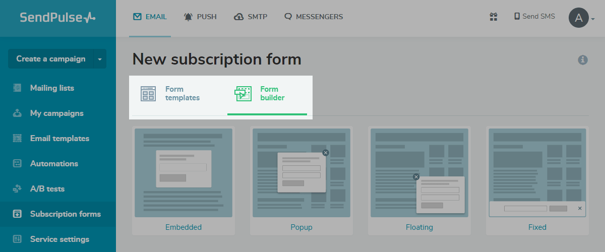 New subscription form selection