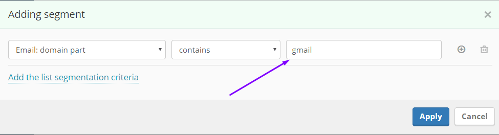 Segmentation by email domain part