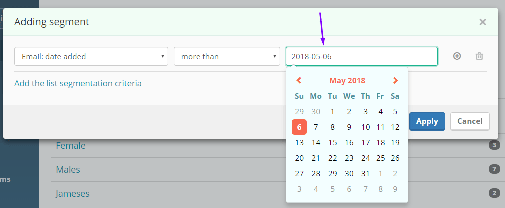 Segmentation by email date added