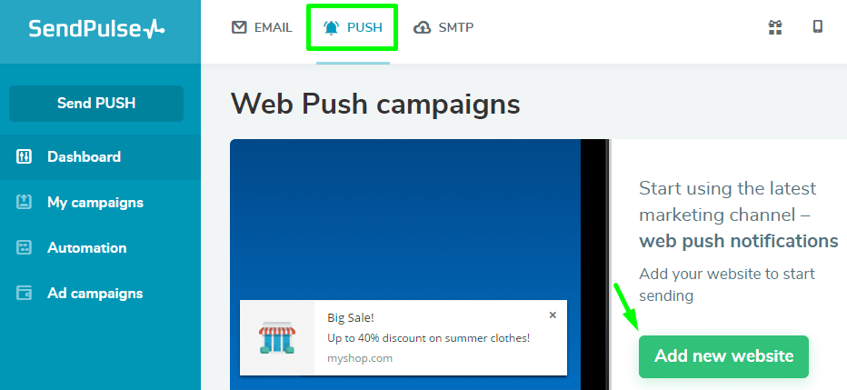 Add your website to send push notifications