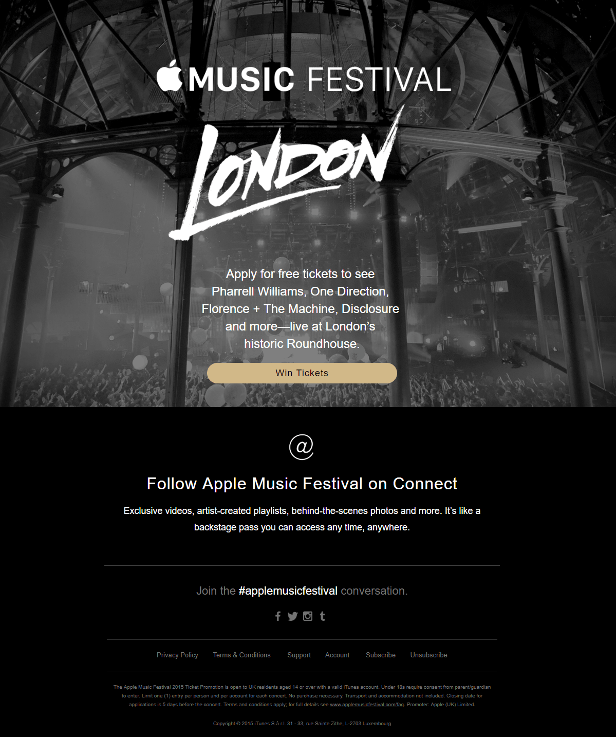 Giveaway email example festival