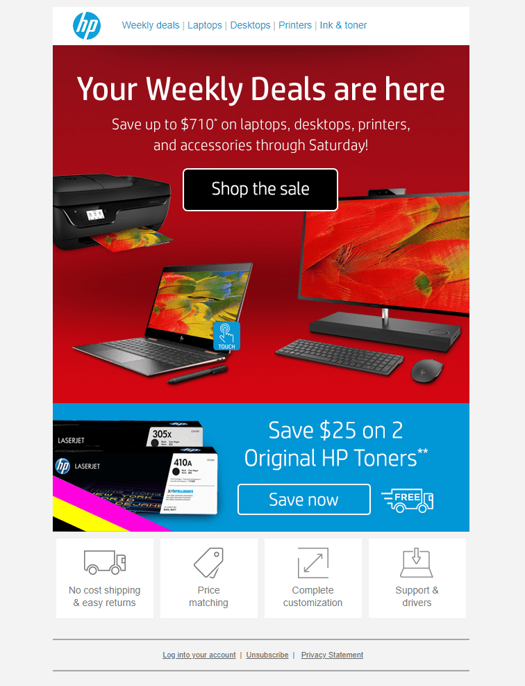 Sales email from HP