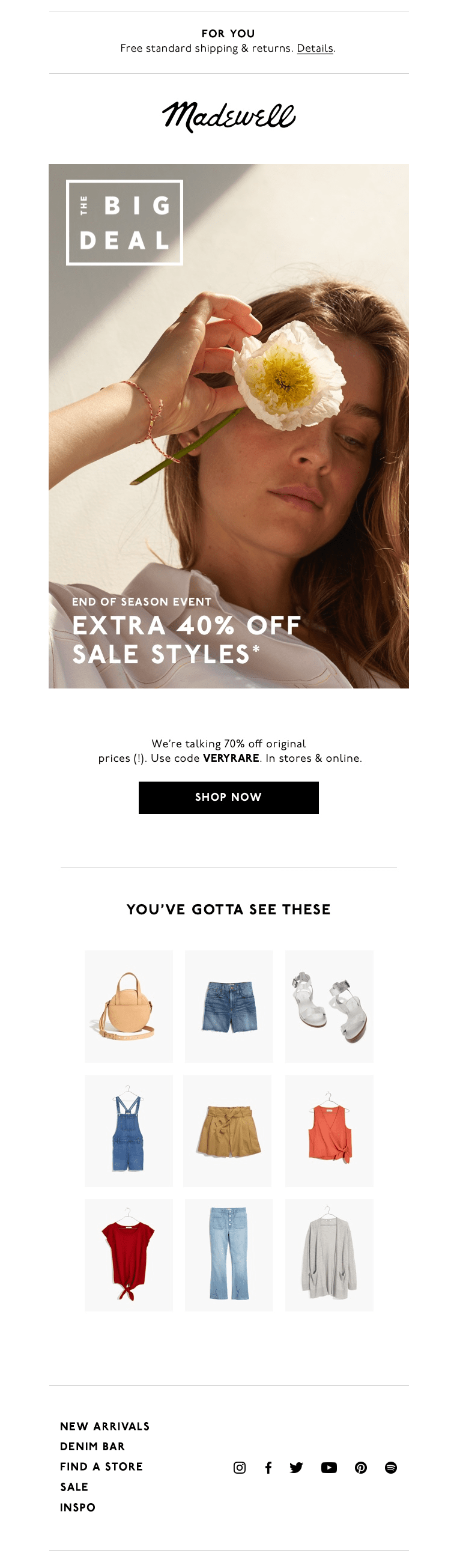 Sales email from Madewell
