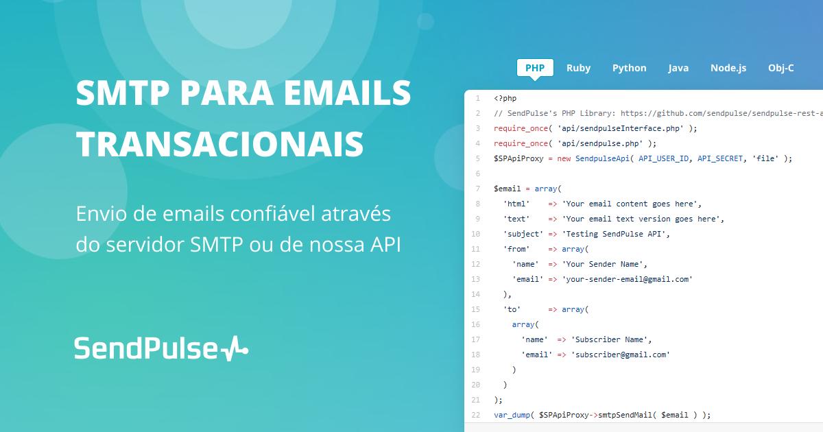 Servidor SMTP e Transmissor de Email | SendPulse